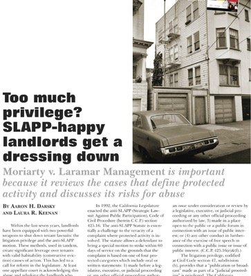 Too Much Privilege? SLAPP-happy Landlords Get a Dressing Down